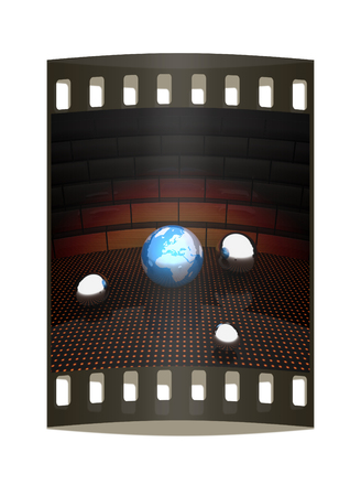 intercommunication: Earth and ball on light path to infinity. 3d render. The film strip Stock Photo
