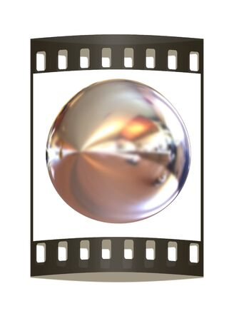 chrome ball: Chrome Ball 3d render on a white background. The film strip