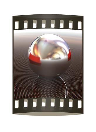 chrome ball: Chrome ball on light path to infinity. 3d render. The film strip