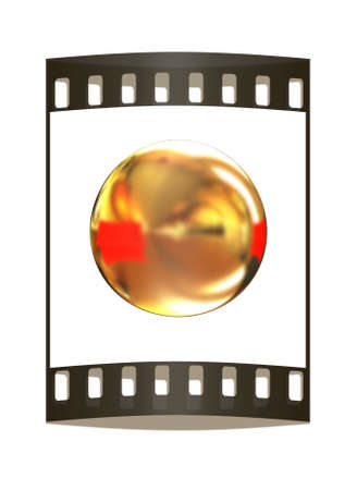 shiny button: Golden Shiny button isolated on white background. The film strip