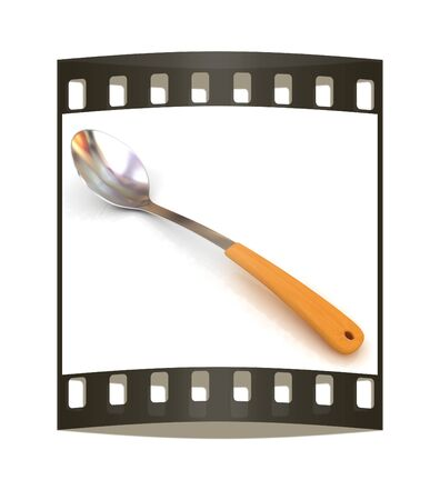 sizzle: Long spoon on a white background. The film strip