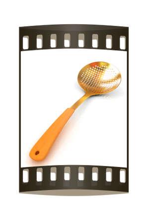 skimmer: Gold skimmer on a white background. The film strip