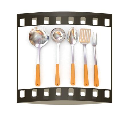 sizzle: Cutlery on a white background. The film strip