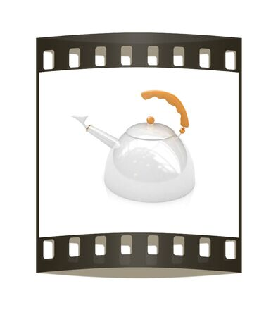 metall: Glossy metall kettle on a white background. The film strip