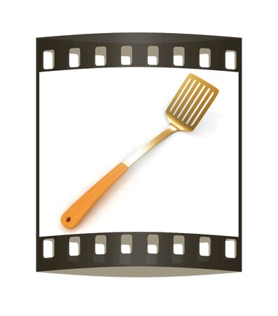 sizzle: Gold cutlery on white background. The film strip
