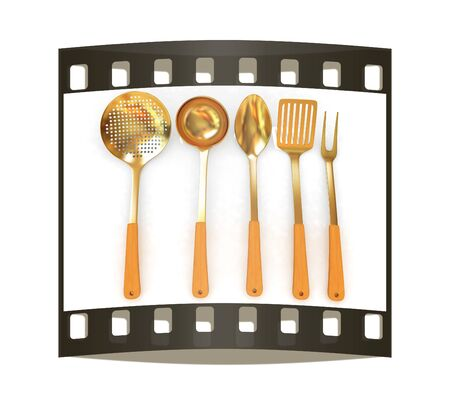 sizzle: Gold cutlery on a white background. The film strip