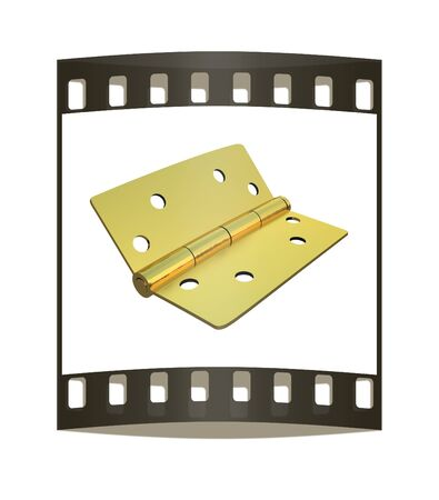 hinges: assembly metal hinges on a white background. The film strip