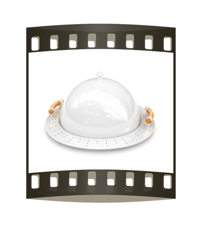 Restaurant cloche with lid on a white background. The film strip