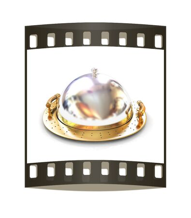 silver ware: Restaurant cloche with lid on a white background. The film strip