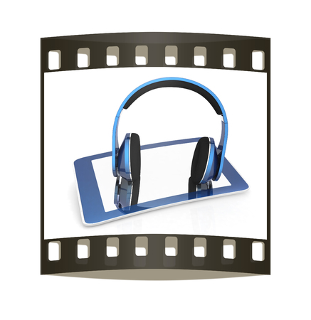 Phone and headphones on a white background. The film strip photo