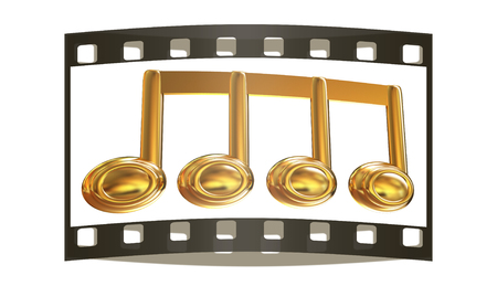 melodies: Music note on a white background. The film strip