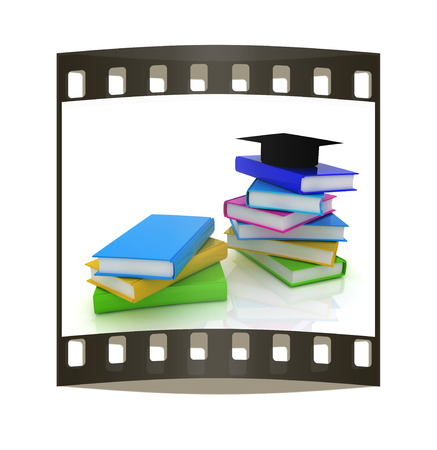 alumna: Graduation hat with books on a white background. The film strip