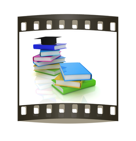 Graduation hat with books on a white background. The film strip