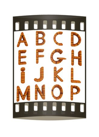prinitng block: Wooden Alphabet set on a white background. The film strip