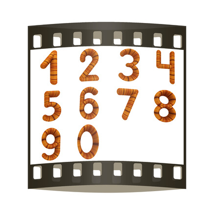 trio: Wooden numbers set on a white background. The film strip