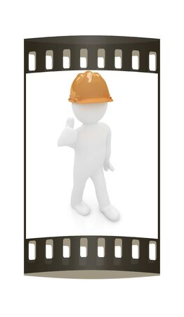3d man in a hard hat with thumb up on a white background. The film strip photo