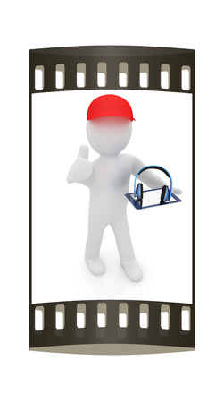 peaked: 3d white man in a red peaked cap with thumb up, tablet pc and headphones on a white background. The film strip