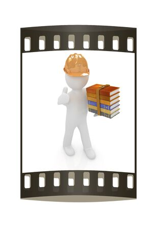 3d man in a hard hat with thumb up presents the best technical literature on a white background. The film strip Stock Photo