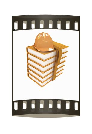 literary man: Stack of leather technical book with belt and hard hat on white background. The film strip