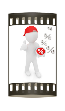 beneficial: Best percent! 3d man in a red peaked cap keeps the most beneficial interest! On a white background. The film strip