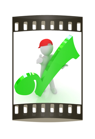 peaked cap: 3d man in a red peaked cap with thumb up and a huge tick on a white background. The film strip Stock Photo