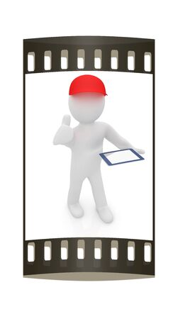 looking at computer screen: 3d white man in a red peaked cap with thumb up and tablet pc on a white background. The film strip