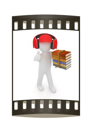 peaked: 3d white man in a red peaked cap with thumb up, books and headphones on a white background. The film strip