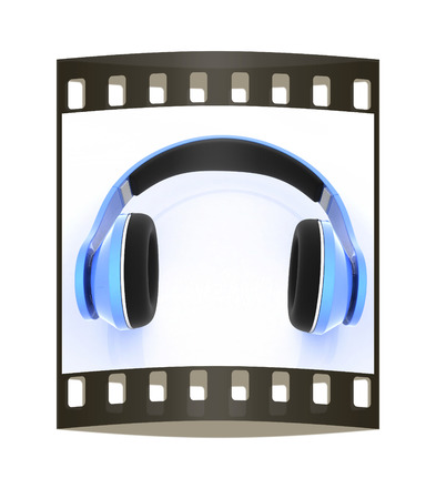 headset voice: 3d illustration of blue headphones on white background. This is the best detail renderer. The film strip