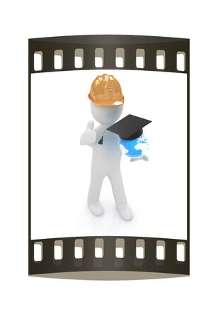 3d man in a hard hat with thumb up presents the best global technical education on a white background. The film strip photo