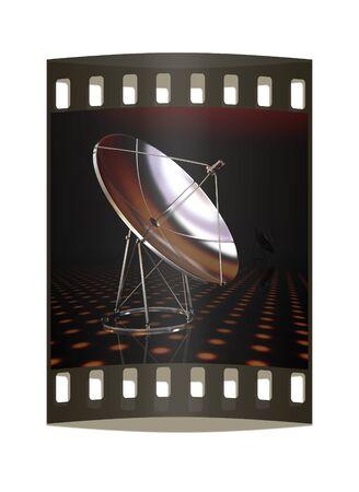 sattelite: SAT on a fantastic dark background. The film strip