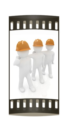 3d mans in a hard hat with thumb up on a white background. The film strip photo