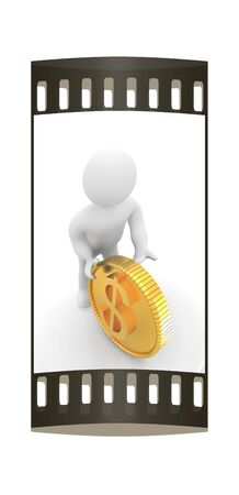 3d small man with gold dollar coin on a white background. The film strip Stock Photo
