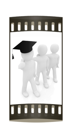 3d man in a graduation Cap with thumb up and 3d mans stand arms around each other on a white background. The film strip
