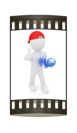 h20: 3d small man with H2O - formula of water on white background. 3d image. The film strip Stock Photo