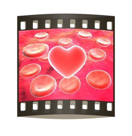 bloodcell: Heart in red blood cells. The film strip