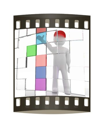 3d man: 3d man making choice, on white background. The film strip