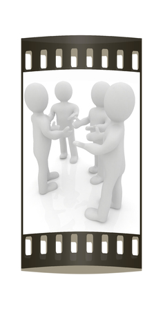 companionship: 3d man. Discussion on a white background. The film strip