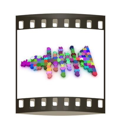 reflection of life: Icon on a theme fish. Puzzle. Illustration for design on a white background. The film strip