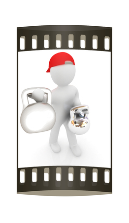 3d man with kettlebell. Bodybuilding. Lifting kettlebell on a white background. The film strip photo