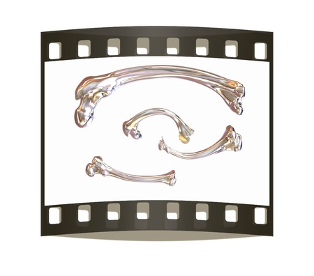squirt: Set of metal bone on a white background. The film strip