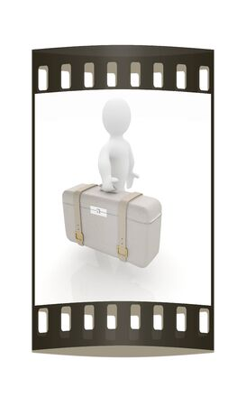 Leather suitcase for travel with 3d man on a white background. The film strip photo