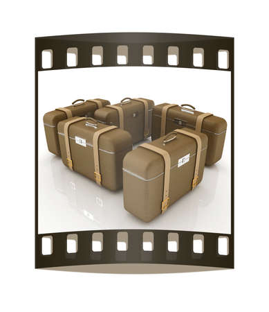travelers: Brown travelers suitcases on a white background. The film strip