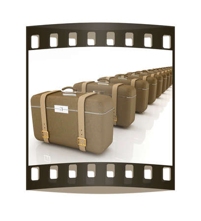 clear skin: Brown travelers suitcases on a white background. The film strip