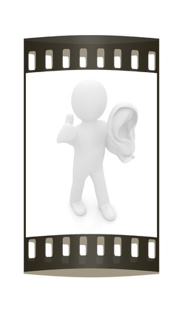 3d man with ear 3d render isolated on white background. The film strip photo