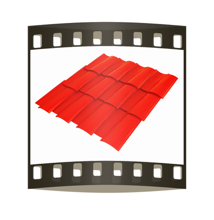 3d roof tiles isolated on white background. The film strip photo
