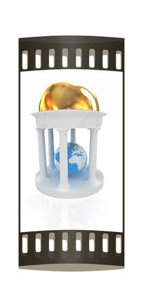 rotunda: Earth in rotunda on a white background. The film strip Stock Photo