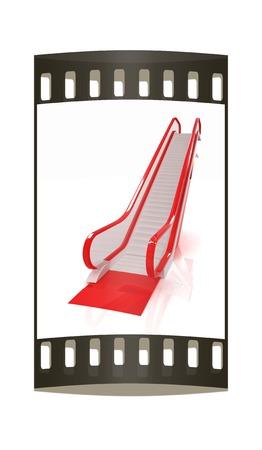 escalate: Escalator on a white background. The film strip
