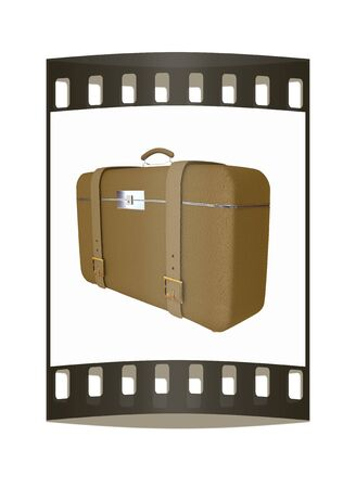 clear skin: Brown travelers suitcase on a white background. The film strip Stock Photo