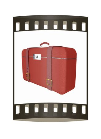 travelers: Red travelers suitcase on a white background. The film strip Stock Photo
