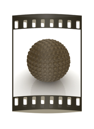 blotchy: Abstract glossy sphere with pimples on a white background. The film strip